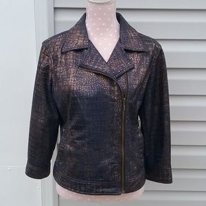 Ruby Rd. Leather look zip jacket, Size 12